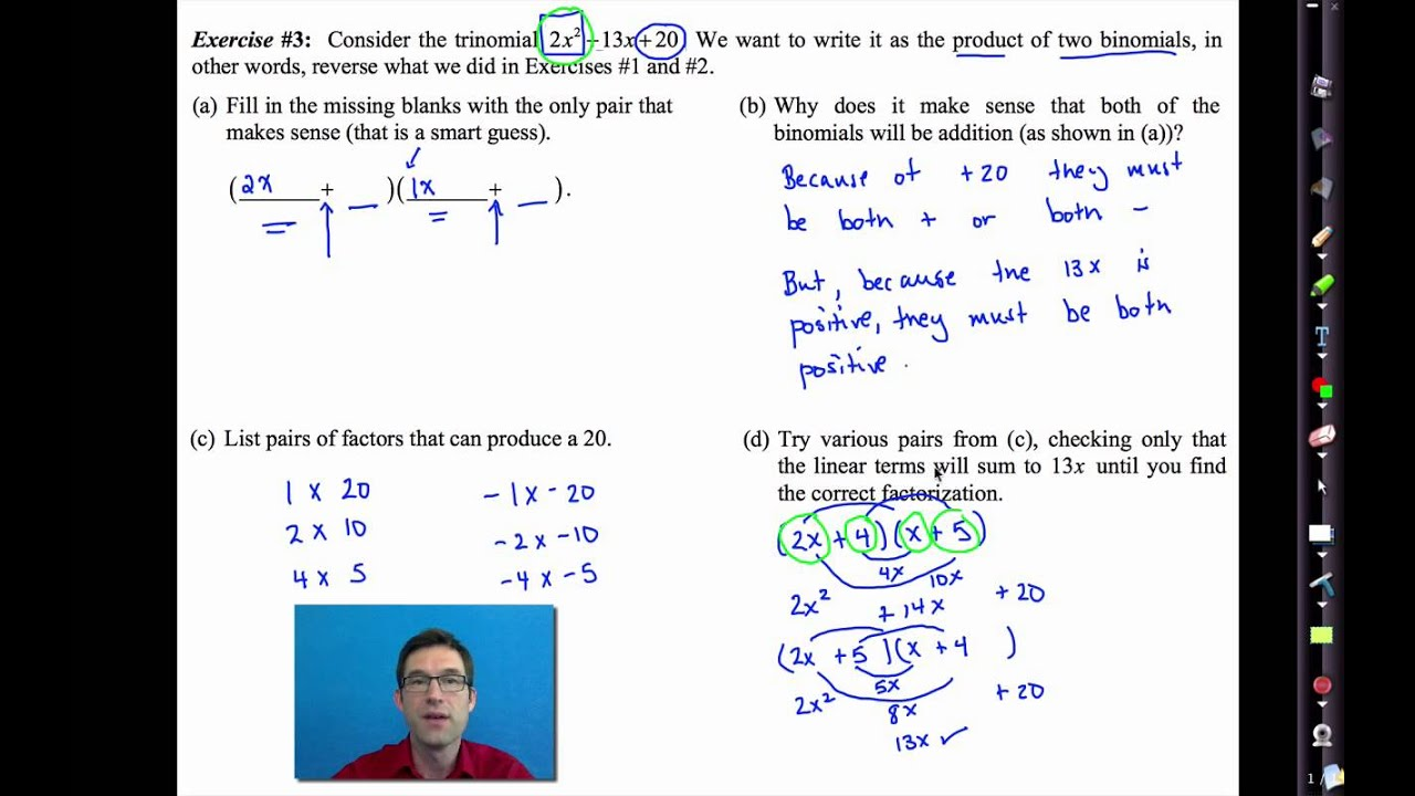 Common Core Algebra I Unit #7 Lesson #5 Factoring Trinomials