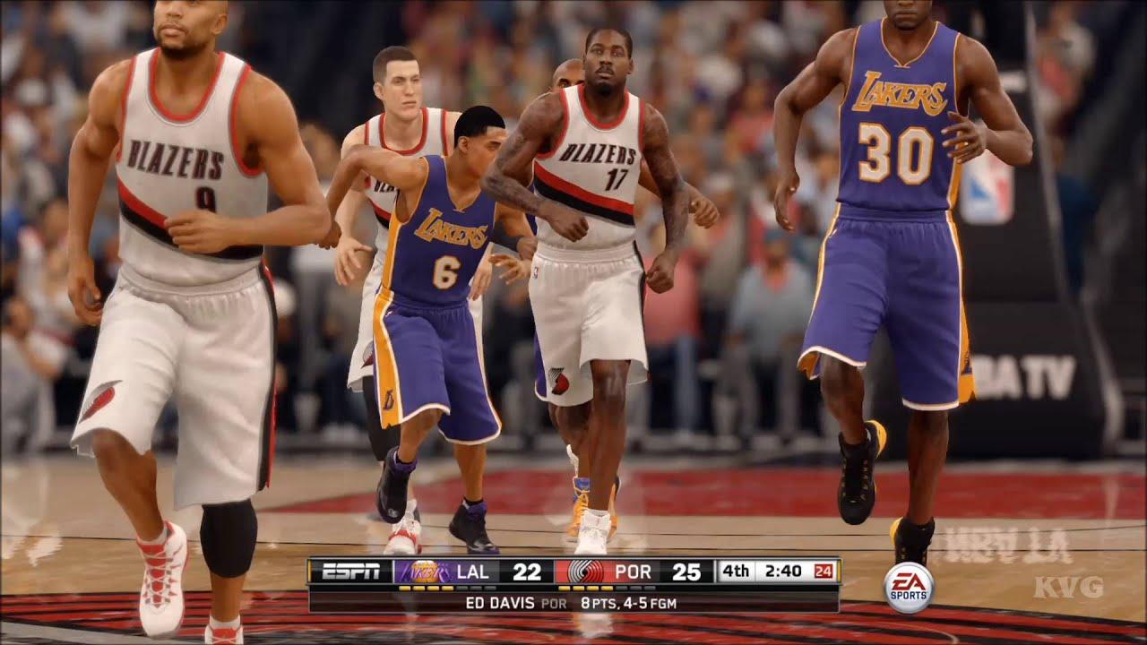NBA Live 16 - Los Angeles Lakers vs Portland Trail Blazers ...