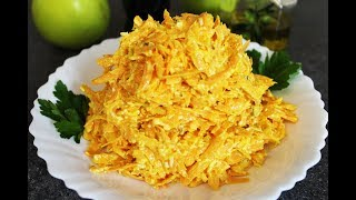Вкусный и Полезный  Салат на Скорую Руку из Моркови, Плавленого сыра, Грецкого ореха и Чеснока