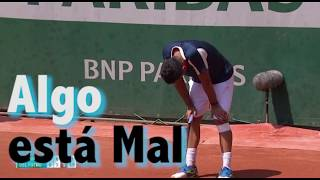 Nicolás Almagro Injury and Strong Cry in the Court against Delpotro Rolland Garros 201