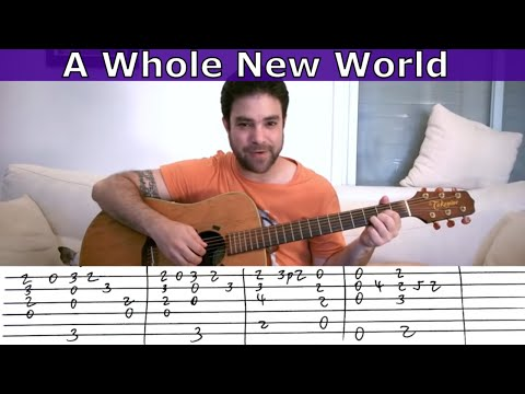 Fingerstyle Tutorial: A Whole New World - Guitar Lesson w/ TAB