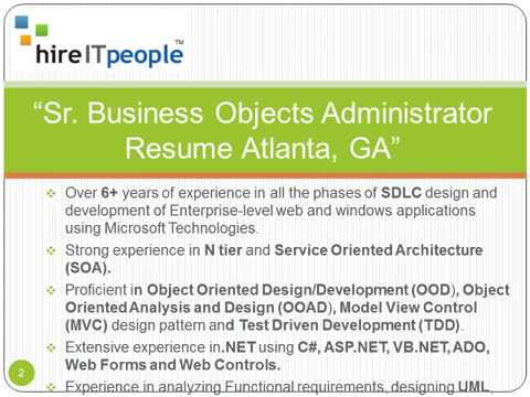 Sr Business Objects Administrator Resume Atlanta GA
