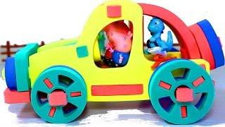 Свинка Пеппа. 3D пазл машинка  Пеппы и Джорджа. Мультфильмы для детей