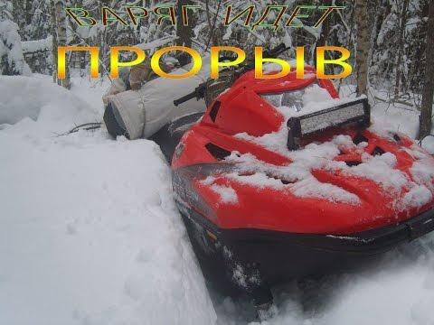 Снегоходы.Тайга Варяг 550V  по лесным заросшим дорогам.Часть 1