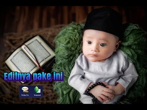 Edit foto bayi lucu baju muslim di hp android - YouTube