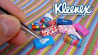 DIY Miniature Kleenex Tissue with Dispenser Flat Boxes for Barbie