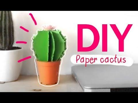 DIY l How to make a paper cactus  (วิธีทำตะบองเพชรกระดาษ)