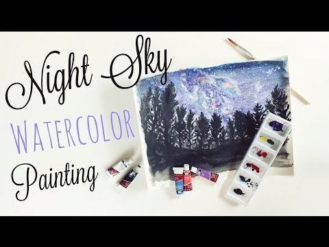 Watercolor Night Sky Painting // Speed Painting // Veronica Marie