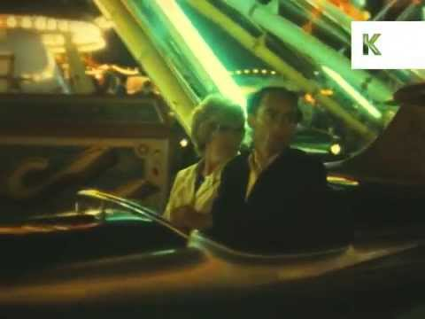 1960s UK Funfair at Night, Rare Colour 16mm Home Movie Archive Footage