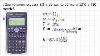 Como calcular el volumen con la ecuación de estado y los gramos del gas
