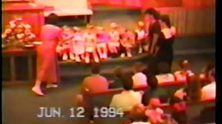 RACHEL CROSS, SAM HUGHETT, RANE AND DRU BRADLEY SINGING  AT BIBLE SCHOOL JUNE 12 1994