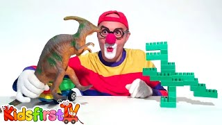 LEGO Dinosaurs Jurassic Park toys & Toy Car Clown! T-Rex Dinosaur Cartoons for Kids by KidsFirstTV
