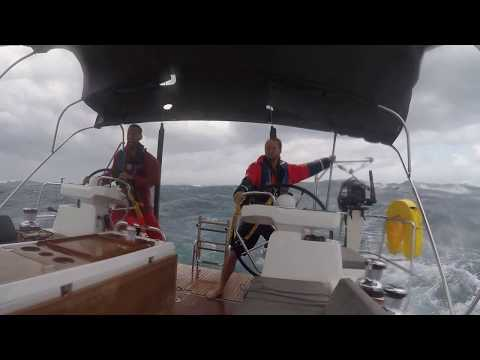 Violent Storm and Big Waves During a Sailboat Delivery