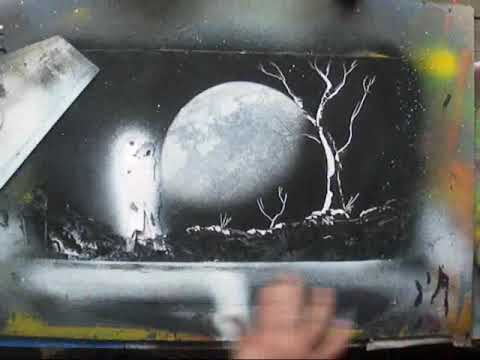 Spray paint art - Moonlight spacepainting