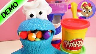 Play Doh Koekiemonster overdrijft - Uit de Play Doh snoepjesfabriek- Hij wil te veel klei!