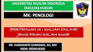 Kuliah Online II Jenis Pidana Dalam KUHP II PENOLOGI