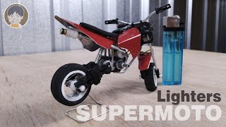 AWESOME DIY TOYS ! MINIATURES SUPERMOTO BIKE MADE FROM CHEAP LIGHTERS | BUBA MINI HOBBY