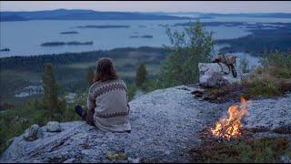 Solo bushcraft trip - northern wilderness, canoeing, net fishing, chaga, lavvu etc. [short version]