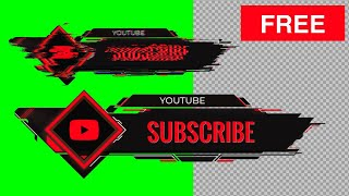 Subscribe Button Green Screen, Transparent Background   Glitch Animation With Sound Effects