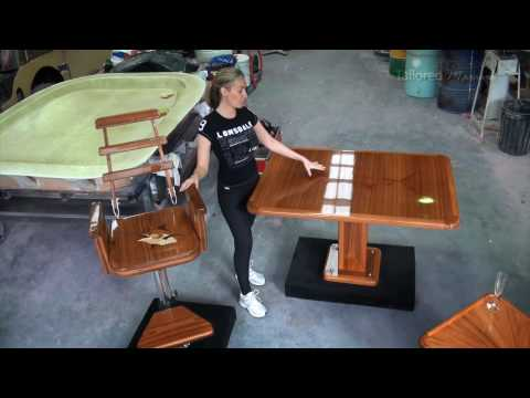#2 Custom Teak Tables, Storage, Helm Chairs.  Stainless Workshop