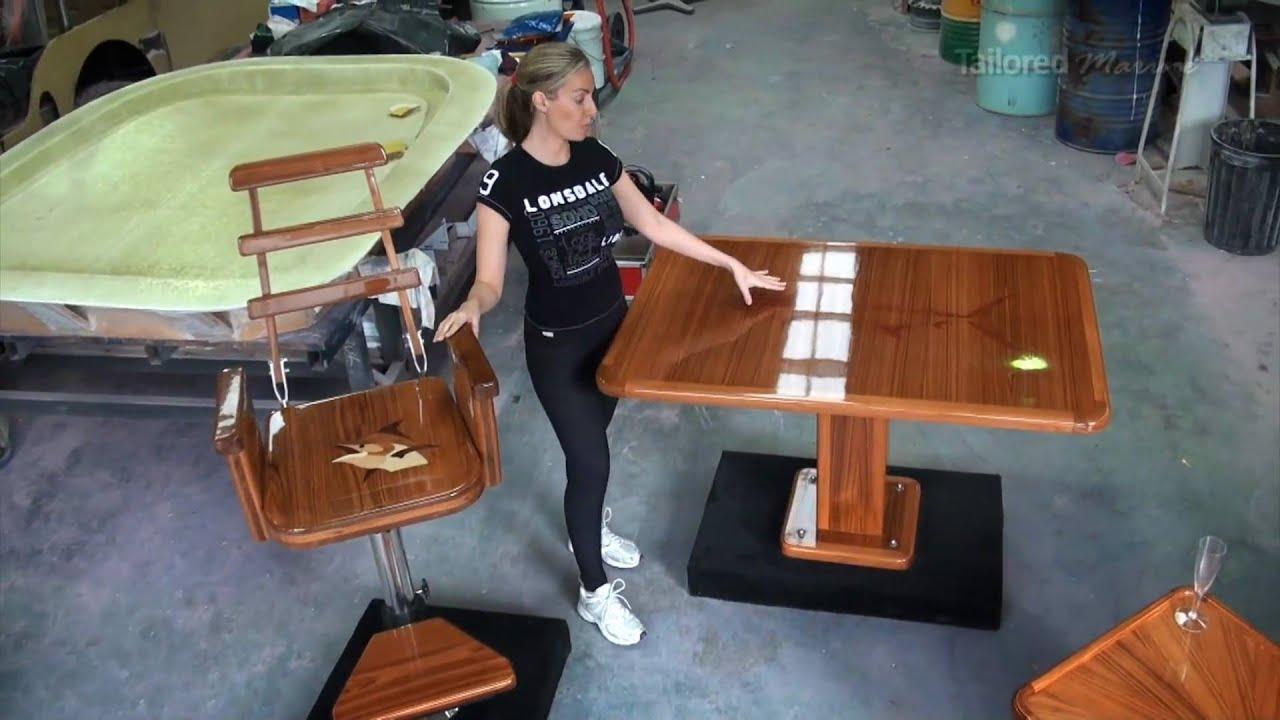 #2 Custom Teak Tables Storage Helm Chairs. Stainless Workshop  sc 1 st  YouTube & 2 Custom Teak Tables Storage Helm Chairs. Stainless Workshop - YouTube