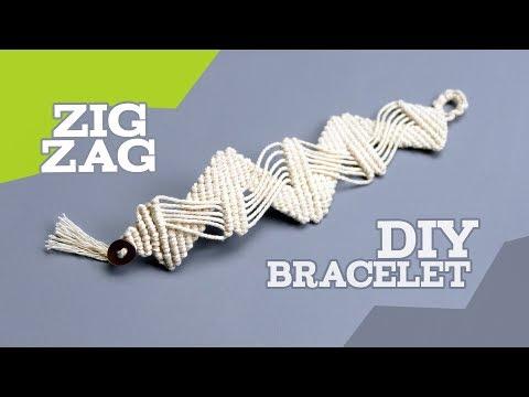 DIY Cotton Macrame Bracelet Zig Zag Pattern Tutorial