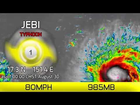 Typhoon Jebi approaches Mariana Islands - 00:00 CHST, August 30