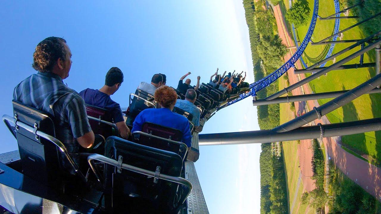 Goliath Roller Coaster! Back Seat 4K POV! Walibi Holland Theme Park