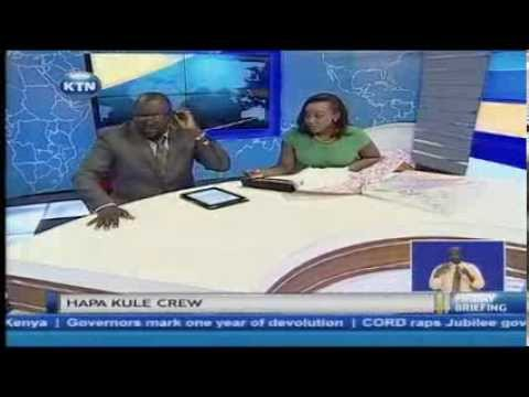 Guest anchors: The hapa kule crew give Betty Kyallo roasted maize as a gift