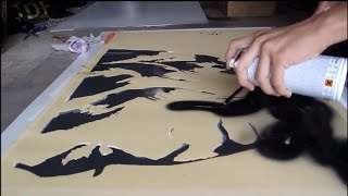 Multi-layered Stencil On Canvas