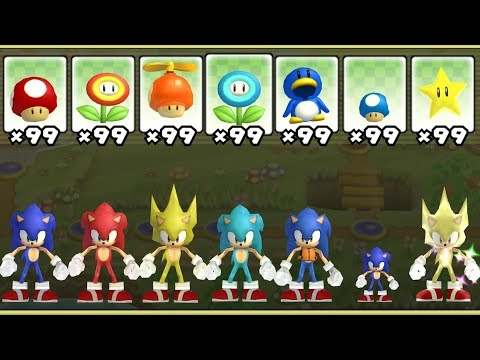 New Super Mario Bros. Wii - All Sonic Power-Ups
