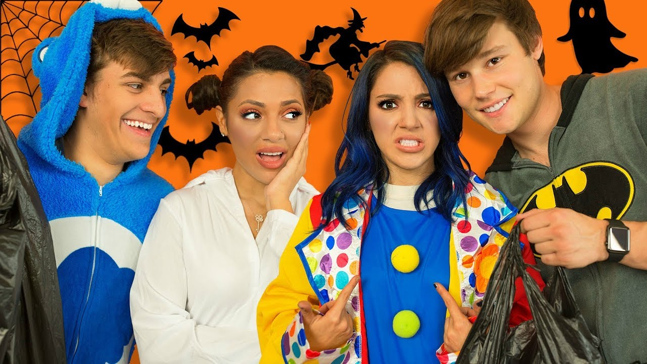 boyfriends buy twins halloween costumes!! niki and gabi - youtube