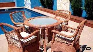 Poppins 5pc Round Dining Set - Outdoor Rattan Wicker - Milan Direct