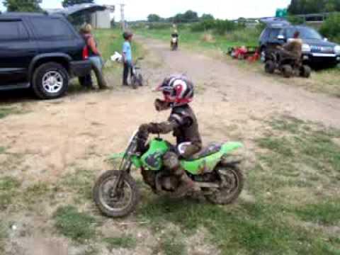 3 Year Old Riding His Kawasaki 50cc With No Training Wheels