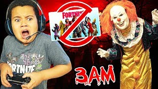 10 ans Little Kid joue Fortnite à 3am SNEAKING Alors que GROUNDED! 'OBTIENT PEUR PAR CLOWN EFFRAYANT'