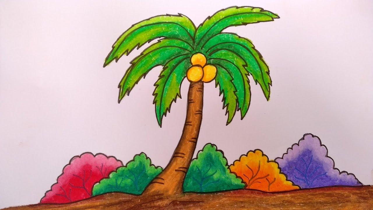 gambar mewarnai buah kelapa