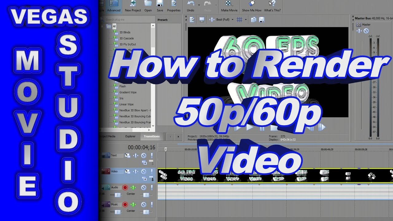 How to Render 50 fps & 60 fps Video using Sony Movie Studio Platinum ...