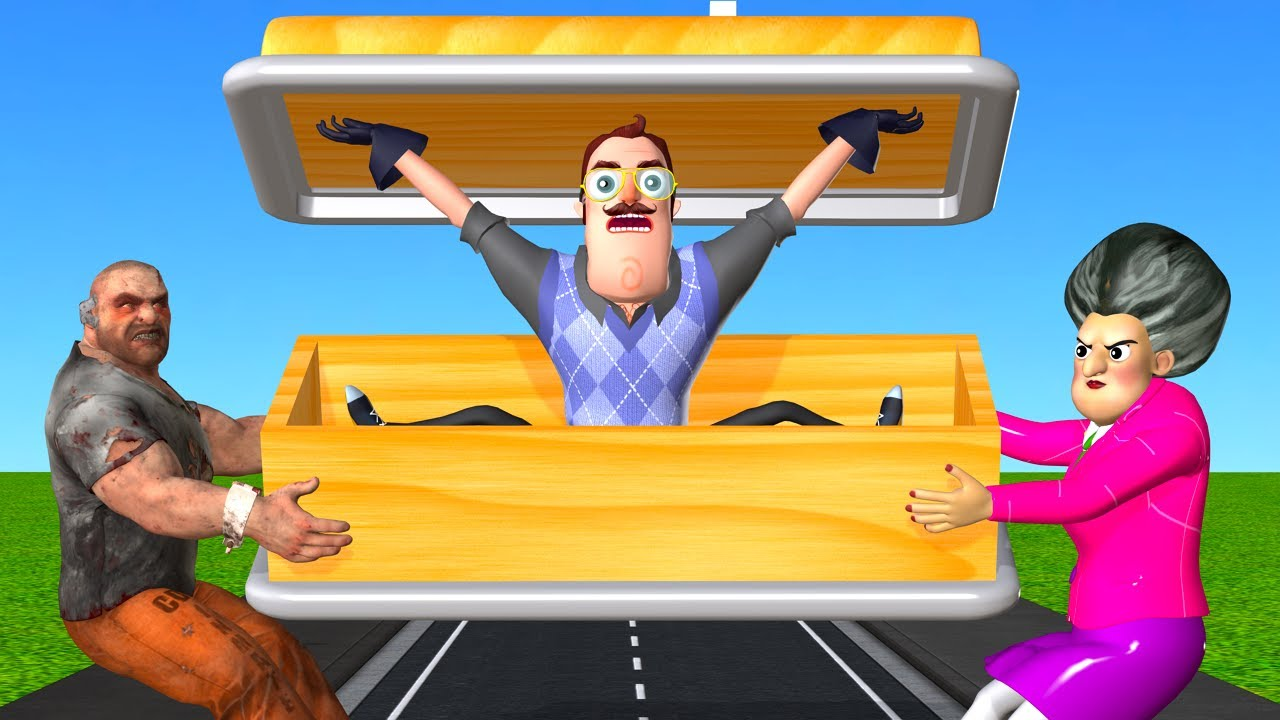 Download Scary Teacher 3D - Scary Seller Coffin vs Nick and Tani Troll Miss T and Hello Neighbor in Foodshop