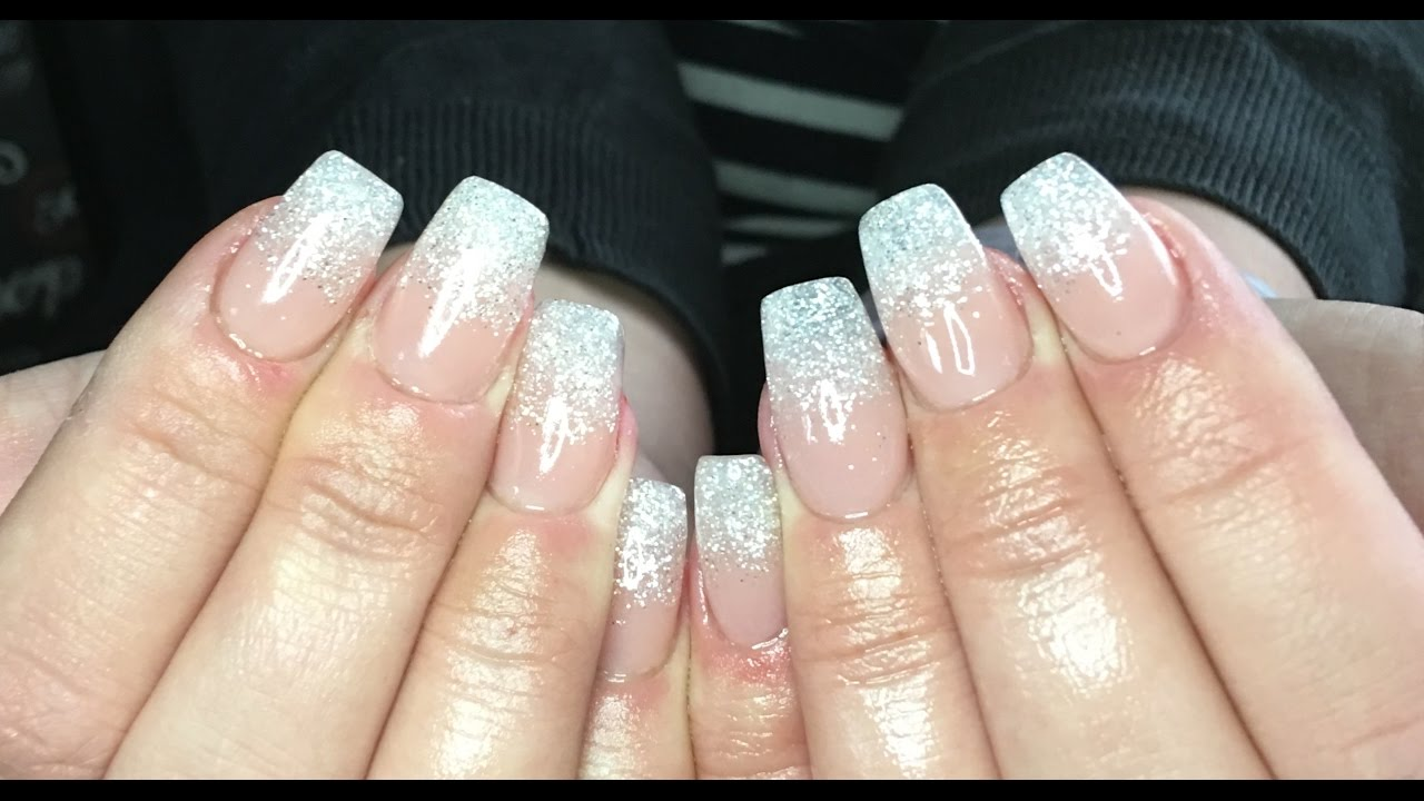 How to acrylic nails using cjp acrylic systems - glitter fade - YouTube