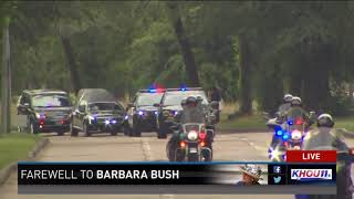 Watch: Mourners, runners honor Barbara Bush as motorcade passes through Memorial Park