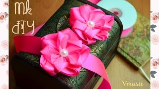 Красивый цветок канзаши из атласной ленты 2,5 см без клея / Beautiful flower of satin ribbon 2,5 cm