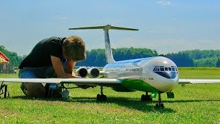 STUNNING GIANT RC ILJUSCHIN IL-62 M SCALE MODEL AIRLINER TURBINE JET FLIGHT AND CRITICAL LANDING