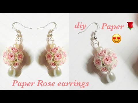 How To Make Beautiful Flower Earrings With Paper ||Quilling Rose Flower Ball Earrings