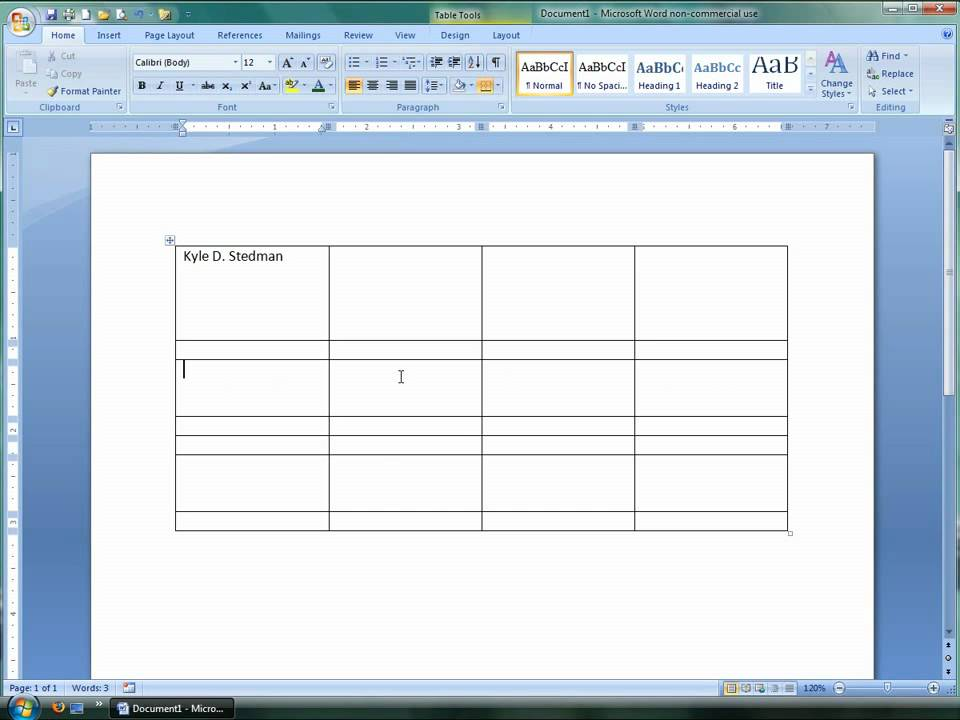 How To Use Tables In Microsoft Word 2007 Youtube
