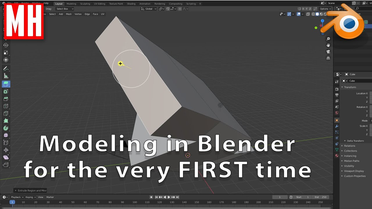 Blender 2.83 tutorial : Modeling for the very FIRST time.