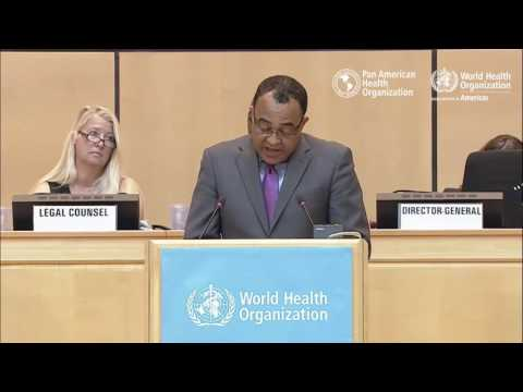 Jamaica's Minister of Health, Dr. Chris Tufton, at the 70th World Health Assembly