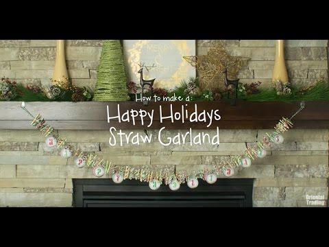 DIY Paper Straw Christmas Garland