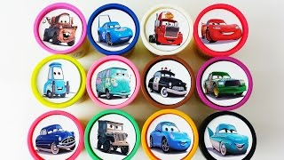 Сups Stacking Toys Play Doh Disney Cars 2 Collection Lightning Mcqueen Dinoco Learn Colours for Kids