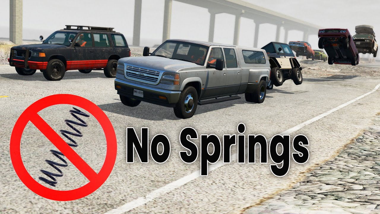 BeamNG Drive - Racing Cars With No Springs (Only shocks)