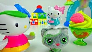 Видео для детей. Китти и Тося - готовим венскую вафлю